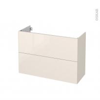 Meuble de salle de bains - Sous vasque - KERIA Ivoire - 2 tiroirs - Côtés décors - L100 x H70 x P40 cm