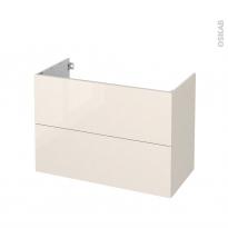 Meuble de salle de bains - Sous vasque - KERIA Ivoire - 2 tiroirs - Côtés décors - L100 x H70 x P50 cm