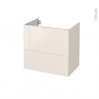 Meuble de salle de bains - Sous vasque - KERIA Ivoire - 2 tiroirs - Côtés décors - L60 x H57 x P40 cm