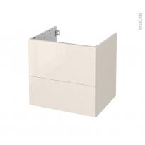 Meuble de salle de bains - Sous vasque - KERIA Ivoire - 2 tiroirs - Côtés décors - L60 x H57 x P50 cm