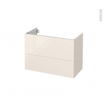 Meuble de salle de bains - Sous vasque - KERIA Ivoire - 2 tiroirs - Côtés décors - L80 x H57 x P40 cm