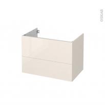 Meuble de salle de bains - Sous vasque - KERIA Ivoire - 2 tiroirs - Côtés décors - L80 x H57 x P50 cm
