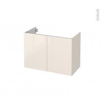 Meuble de salle de bains - Sous vasque - KERIA Ivoire - 2 portes - Côtés décors - L80 x H57 x P40 cm