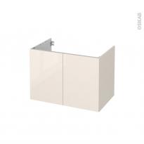 Meuble de salle de bains - Sous vasque - KERIA Ivoire - 2 portes - Côtés décors - L80 x H57 x P50 cm