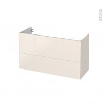 Meuble de salle de bains - Sous vasque - KERIA Ivoire - 2 tiroirs - Côtés décors - L100 x H57 x P40 cm