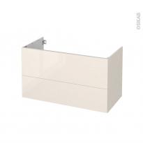 Meuble de salle de bains - Sous vasque - KERIA Ivoire - 2 tiroirs - Côtés décors - L100 x H57 x P50 cm