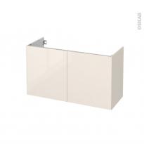Meuble de salle de bains - Sous vasque - KERIA Ivoire - 2 portes - Côtés décors - L100 x H57 x P40 cm