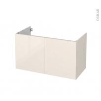 Meuble de salle de bains - Sous vasque - KERIA Ivoire - 2 portes - Côtés décors - L100 x H57 x P50 cm