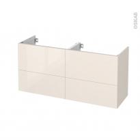 Meuble de salle de bains - Sous vasque double - KERIA Ivoire - 4 tiroirs - Côtés décors - L120 x H57 x P40 cm