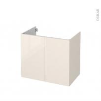 Meuble de salle de bains - Sous vasque - KERIA Ivoire - 2 portes - Côtés décors - L80 x H70 x P50 cm