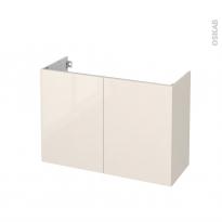 Meuble de salle de bains - Sous vasque - KERIA Ivoire - 2 portes - Côtés décors - L100 x H70 x P40 cm