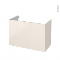 Meuble de salle de bains - Sous vasque - KERIA Ivoire - 2 portes - Côtés décors - L100 x H70 x P50 cm