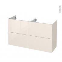 Meuble de salle de bains - Sous vasque double - KERIA Ivoire - 4 tiroirs - Côtés décors - L120 x H70 x P40 cm