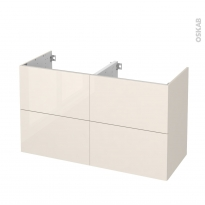 Meuble de salle de bains - Sous vasque double - KERIA Ivoire - 4 tiroirs - Côtés décors - L120 x H70 x P50 cm