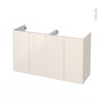 Meuble de salle de bains - Sous vasque double - KERIA Ivoire - 4 portes - Côtés décors - L120 x H70 x P40 cm