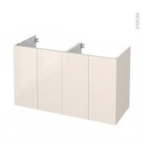Meuble de salle de bains - Sous vasque double - KERIA Ivoire - 4 portes - Côtés décors - L120 x H70 x P50 cm
