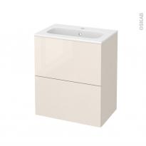Meuble de salle de bains - Plan vasque REZO - KERIA Ivoire - 2 tiroirs - Côtés décors - L60,5 x H71,5 x P40,5 cm