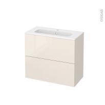 Meuble de salle de bains - Plan vasque REZO - KERIA Ivoire - 2 tiroirs - Côtés décors - L80,5 x H71,5 x P40,5 cm