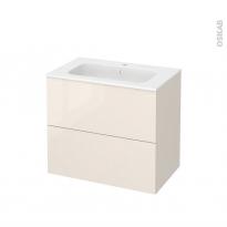 Meuble de salle de bains - Plan vasque REZO - KERIA Ivoire - 2 tiroirs - Côtés décors - L80,5 x H71,5 x P50,5 cm