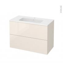 Meuble de salle de bains - Plan vasque REZO - KERIA Ivoire - 2 tiroirs - Côtés décors - L100,5 x H71,5 x P50,5 cm