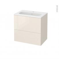 Meuble de salle de bains - Plan vasque REZO - KERIA Ivoire - 2 tiroirs - Côtés décors - L60,5 x H58,5 x P40,5 cm
