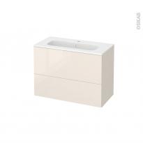 Meuble de salle de bains - Plan vasque REZO - KERIA Ivoire - 2 tiroirs - Côtés décors - L80,5 x H58,5 x P40,5 cm