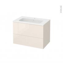 Meuble de salle de bains - Plan vasque REZO - KERIA Ivoire - 2 tiroirs - Côtés décors - L80,5 x H58,5 x P50,5 cm