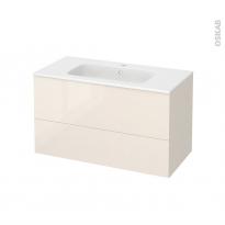 Meuble de salle de bains - Plan vasque REZO - KERIA Ivoire - 2 tiroirs - Côtés décors - L100,5 x H58,5 x P50,5 cm