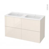 Meuble de salle de bains - Plan double vasque REZO - KERIA Ivoire - 4 tiroirs - Côtés décors - L120,5 x H71,5 x P50,5 cm