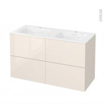 Meuble de salle de bains - Plan double vasque VALA - KERIA Ivoire - 4 tiroirs - Côtés décors - L120,5 x H71,2 x P50,5 cm