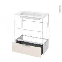 Tiroir sous meuble - Socle n°101 - KERIA Ivoire - pour meuble salle de bains - L80 x H26 x P45 cm