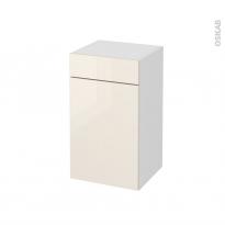 Meuble de salle de bains - Rangement bas - KERIA Ivoire - 1 porte 1 tiroir - L40 x H70 x P37 cm