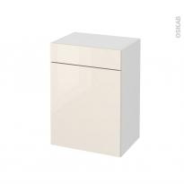 Meuble de salle de bains - Rangement bas - KERIA Ivoire - 1 porte 1 tiroir - L50 x H70 x P37 cm