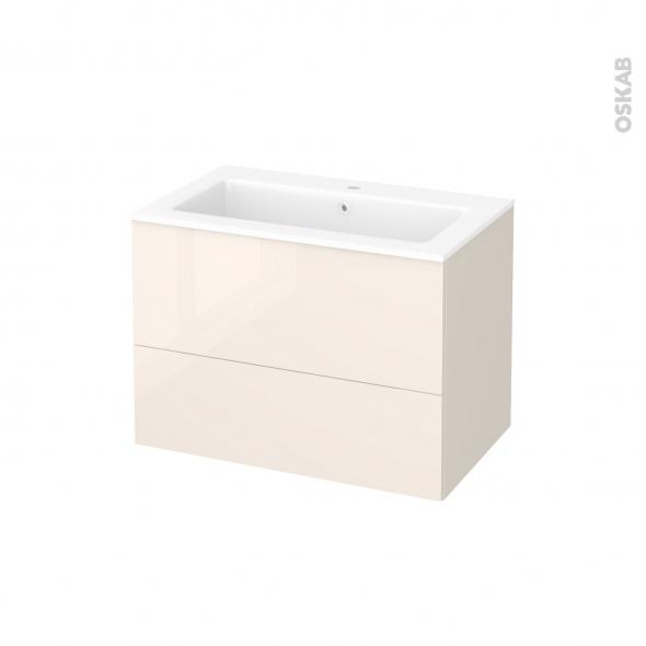 Meuble de salle de bains - Plan vasque NAJA - KERIA Ivoire - 2 tiroirs - Côtés décors - L80,5 x H58,5 x P50,5 cm