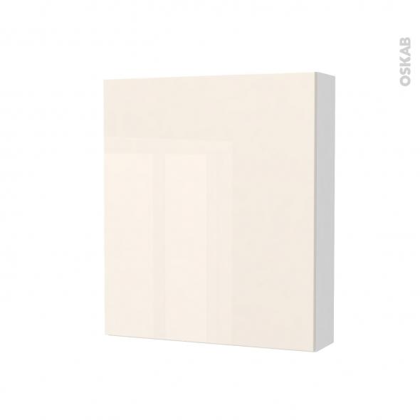 Armoire de toilette - Rangement haut - KERIA Ivoire - 1 porte - Côtés blancs - L60 x H70 x P17 cm