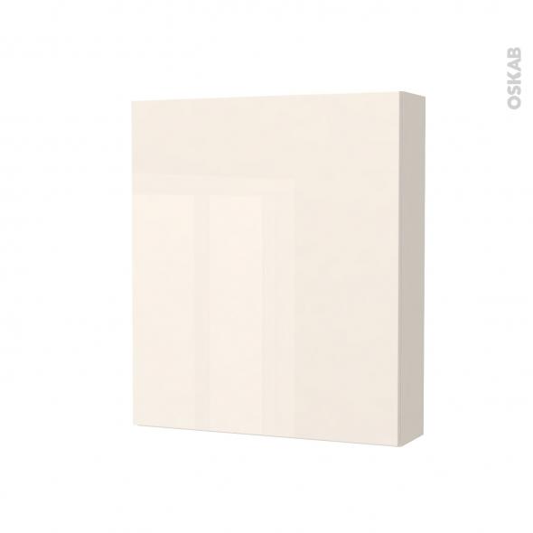 Armoire de toilette - Rangement haut - KERIA Ivoire - 1 porte - Côtés décors - L60 x H70 x P17 cm
