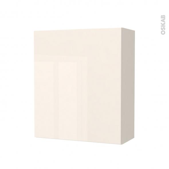 Armoire de salle de bains - Rangement haut - KERIA Ivoire - 1 porte - Côtés décors - L60 x H70 x P27 cm