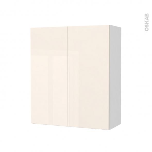 Armoire de salle de bains - Rangement haut - KERIA Ivoire - 2 portes - Côtés blancs - L60 x H70 x P27 cm