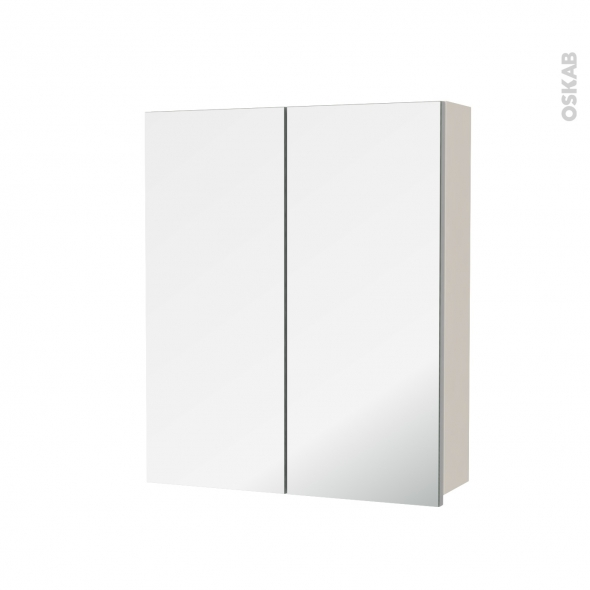 Armoire de toilette - Rangement haut - KERIA Ivoire - 2 portes miroir - Côtés décors - L60 x H70 x P17 cm