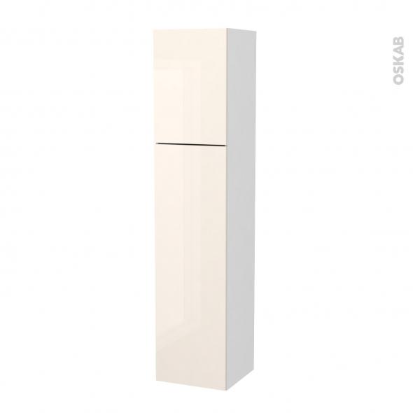 Colonne de salle de bains - 2 portes - KERIA Ivoire - Côtés blancs - Version A - L40 x H182 x P40 cm