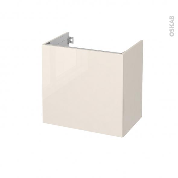 Meuble de salle de bains - Sous vasque - KERIA Ivoire - 1 porte - Côtés décors - L60 x H57 x P40 cm