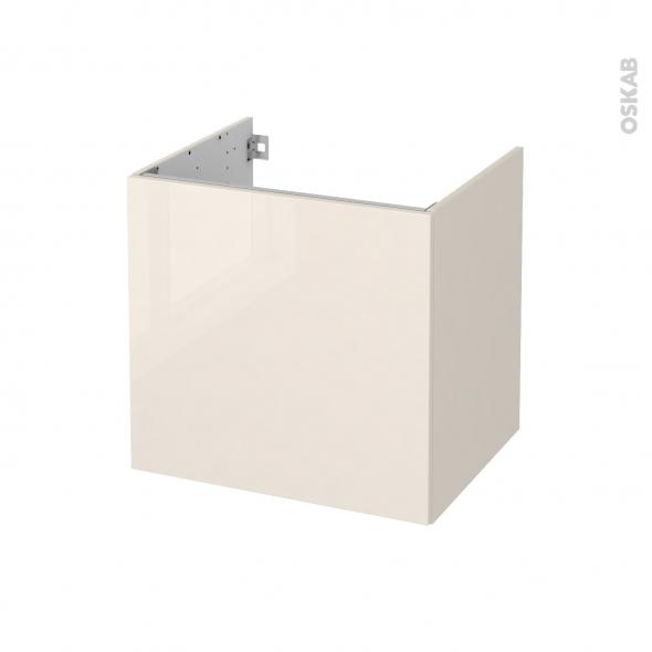 Meuble de salle de bains - Sous vasque - KERIA Ivoire - 1 porte - Côtés décors - L60 x H57 x P50 cm