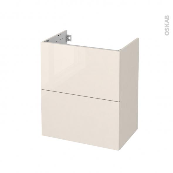 Meuble de salle de bains - Sous vasque - KERIA Ivoire - 2 tiroirs - Côtés décors - L60 x H70 x P40 cm