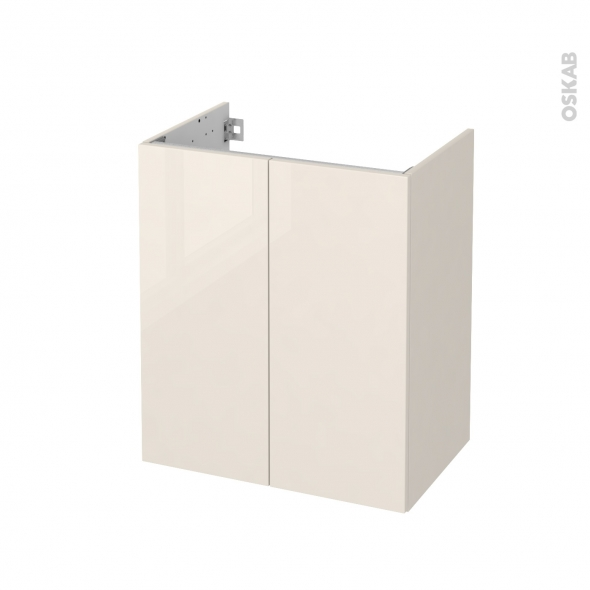 Meuble de salle de bains - Sous vasque - KERIA Ivoire - 2 portes - Côtés décors - L60 x H70 x P40 cm