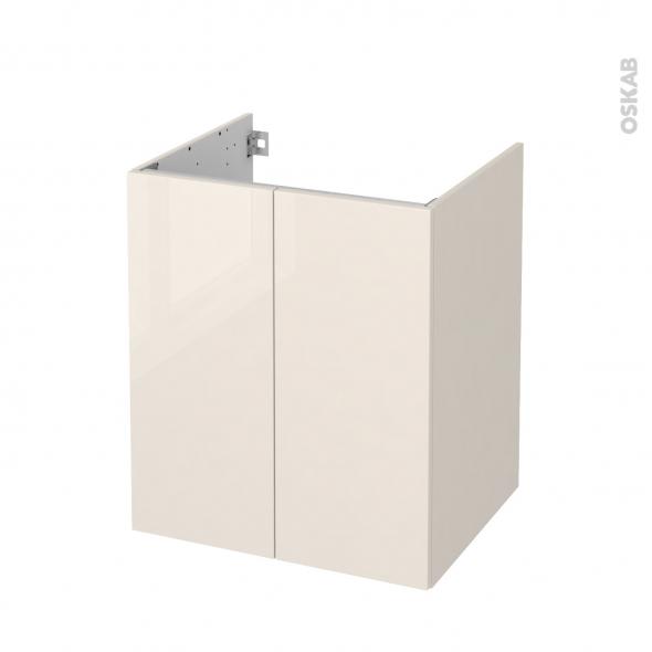 Meuble de salle de bains - Sous vasque - KERIA Ivoire - 2 portes - Côtés décors - L60 x H70 x P50 cm