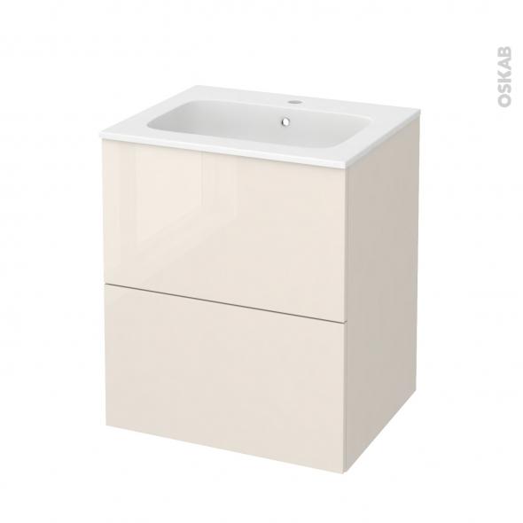 Meuble de salle de bains - Plan vasque REZO - KERIA Ivoire - 2 tiroirs - Côtés décors - L60,5 x H71,5 x P50,5 cm