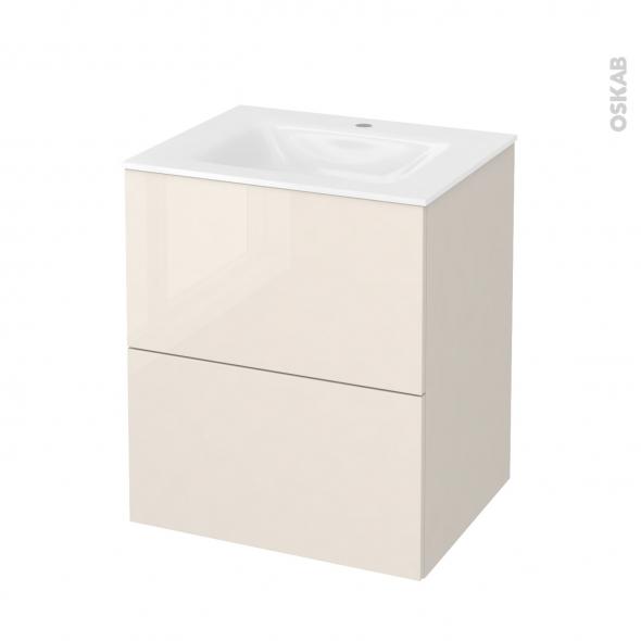 Meuble de salle de bains - Plan vasque VALA - KERIA Ivoire - 2 tiroirs - Côtés décors - L60,5 x H71,2 x P50,5 cm