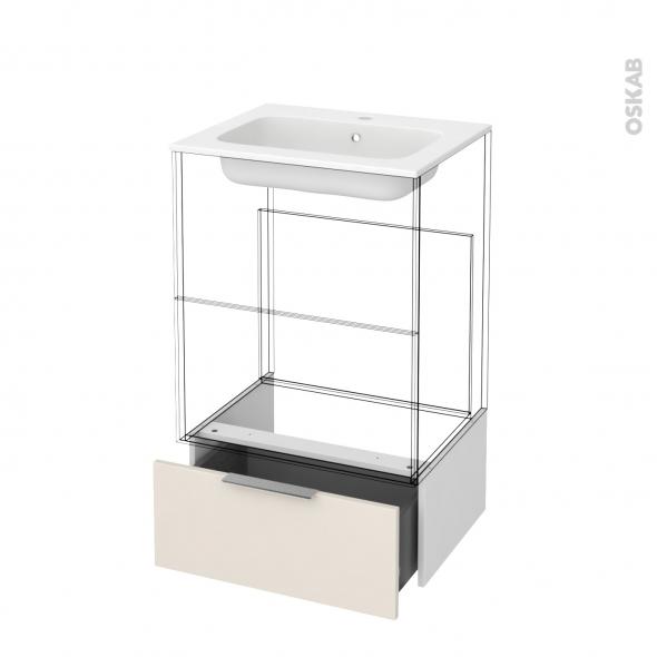 Tiroir sous meuble - Socle n°51 - KERIA Ivoire - pour meuble salle de bains - L60 x H26 x P45 cm
