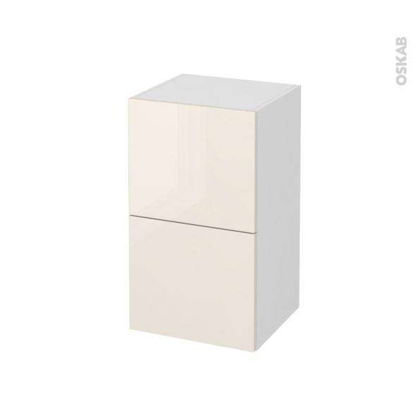 Meuble de salle de bains - Rangement bas - KERIA Ivoire - 2 tiroirs 1 tiroir à l'anglaise - L40 x H70 x P37 cm