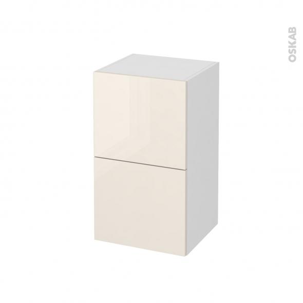 Meuble de salle de bains - Rangement bas - KERIA Ivoire - 2 tiroirs - L40 x H70 x P37 cm